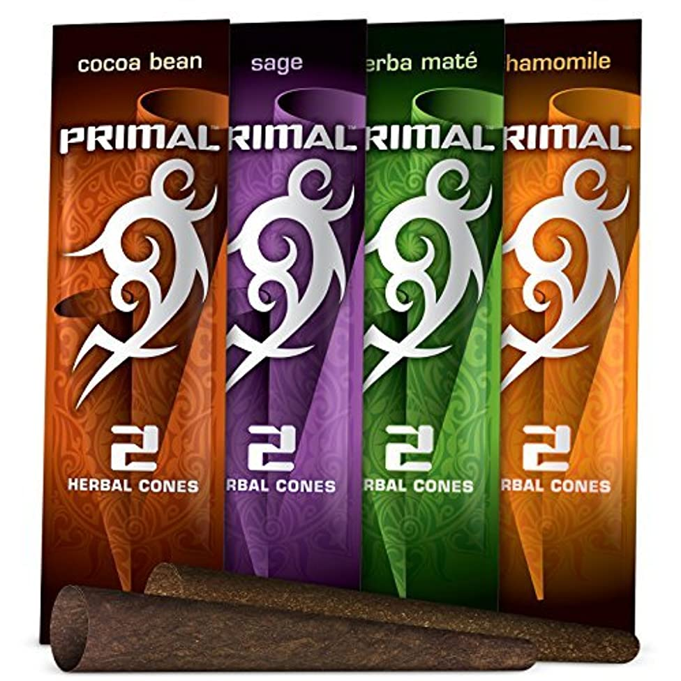 Primal Herbal Cones Variety Pack, Tobacco & Nicotine Free (12 Total Cones, 6 Packs of 2) + Beamer Smoke Sticker. Use with Herbal Blends. Compare to Rolling Paper