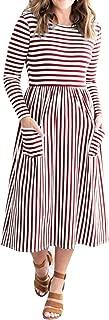 MEROKEETY Women's 3/4 Balloon Sleeve Striped High Waist T Shirt Midi Dress with Pockets