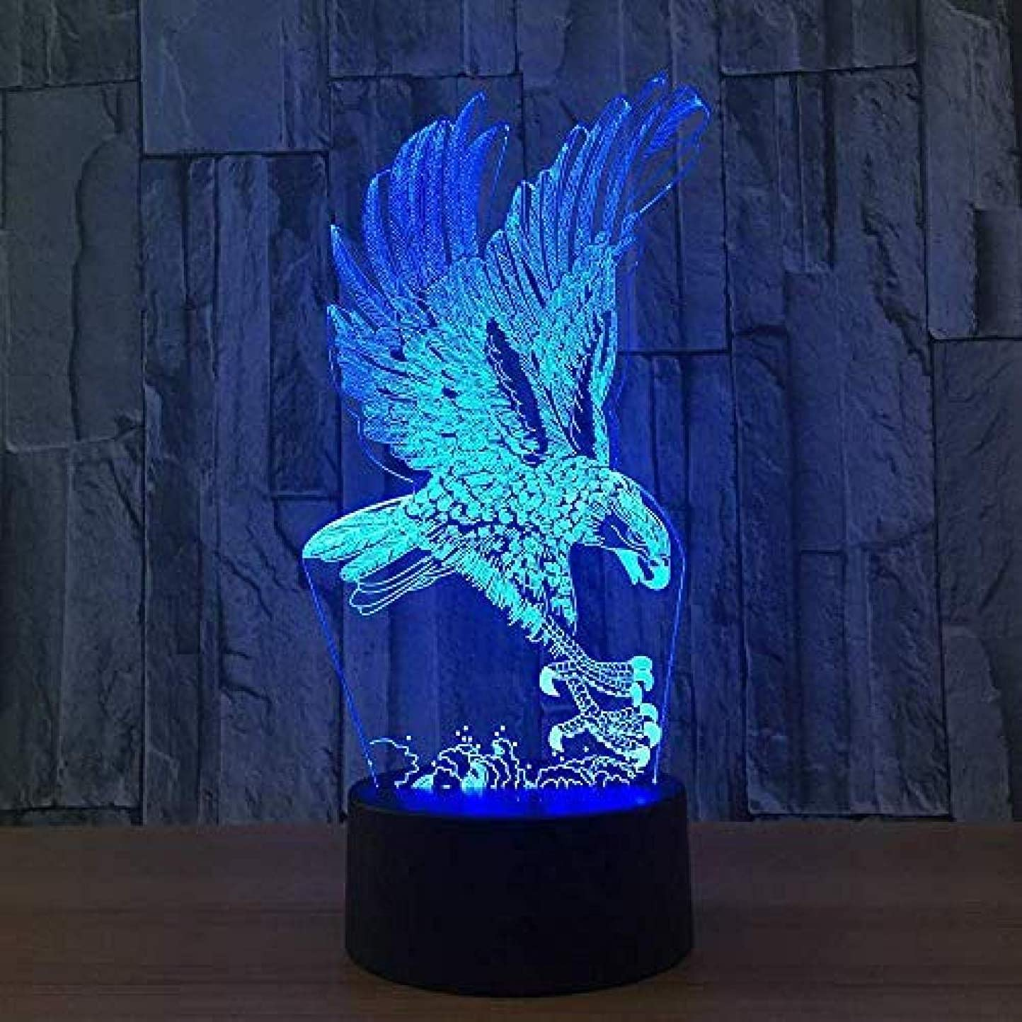 世論調査博物館アクチュエータ錯視3Dイーグルナイトライト7色変更USBアダプタータッチスイッチ装飾ランプLEDランプ