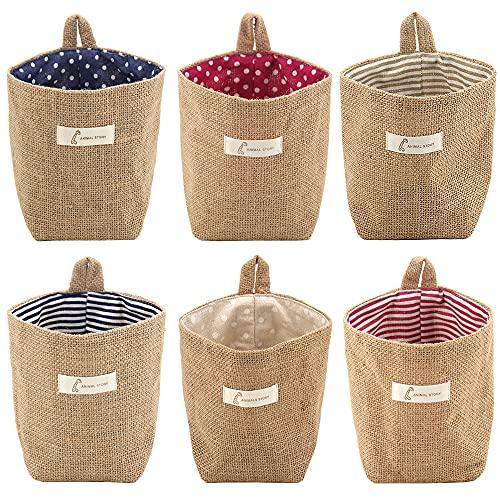 Lifreer - Cestas de almacenaje, 6 unidades, de algodón y lino, plegables, pequeñas, cestas con mango, para juguetes,...