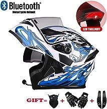 Gedme-helmet Casco Integral para Motocicleta con Casco Bluetooth Integrado para Motocicleta, Auriculares Bluetooth con Doble Altavoz Incorporado, Casco con Sistema de Voz,M