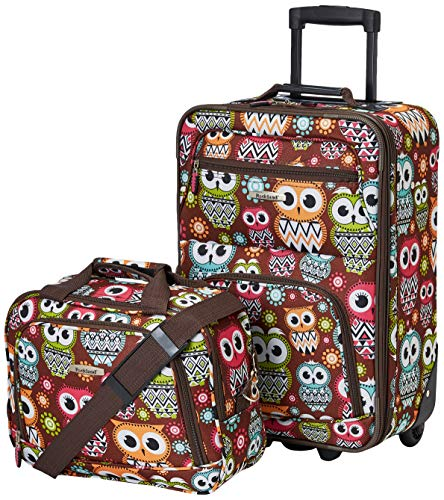Cute Owl Design Kids Rolling Carry On Luggage with Tote Bag for Added Storage