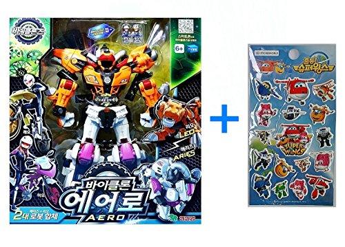 Young Toys Koreatv Animation Biklonz Aero Transforming Coalescence Robot, Action Figure Transformer Robot + Super Wings Sticker(2 Piece)