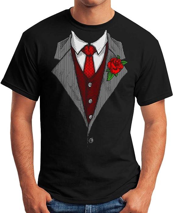 MoonWorks Camiseta para hombre con diseño de corbata