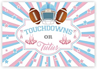 Funnytree 7x5ft Touchdowns and Tutus Gender Reveal Backdrop Girl or Boy Pink Blue Baby Shower Photography Background Football Ballet Stars Invitation Party Decoration Cake Table Banner Photobooth