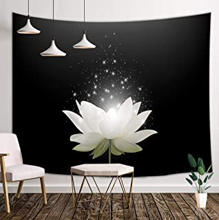 KOTOM Floral Tapestry Wall Hanging Art, Magic White Lotus Flower on Black Background, Wall Blanket Beach Towels Home Decor Polyester Fabric for Bedroom Living Room Dorm, 80X60 Inches