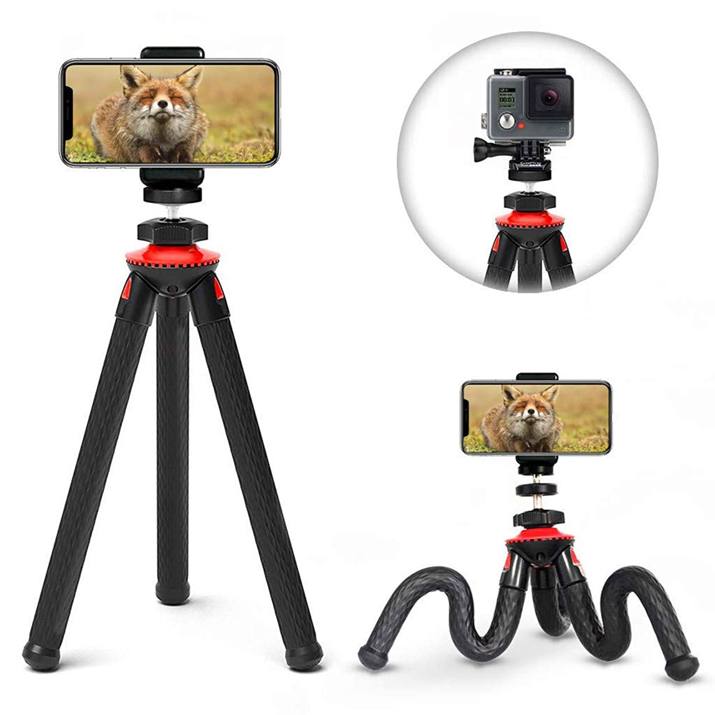 Solovley Camera Stand, Flexible Adjustable Tripod Camera with Adapter Telescope Phone Mount Adapter Remote Control for Canon