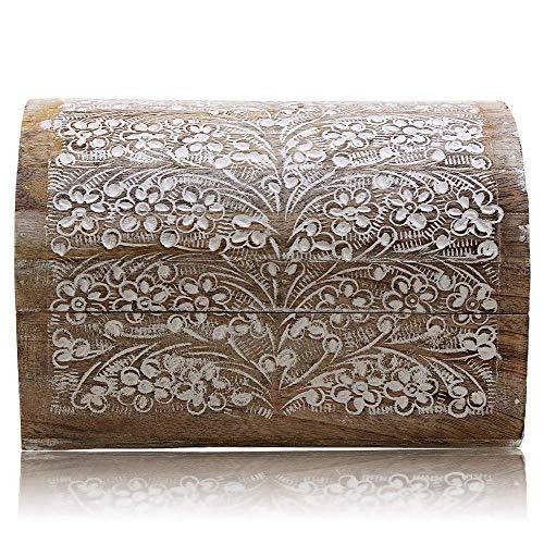 Joyero decorativo hecho a mano de madera con detalles tallados, joyería, caja de recuerdo, caja de recuerdo, caja de recuerdos, caja de memoria, caja de reloj, 9 x 6 pulgadas, gran idea de regalo