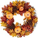 BCP Artificial Fall Wreath, Autumn Holiday Decoration 24 Inch
