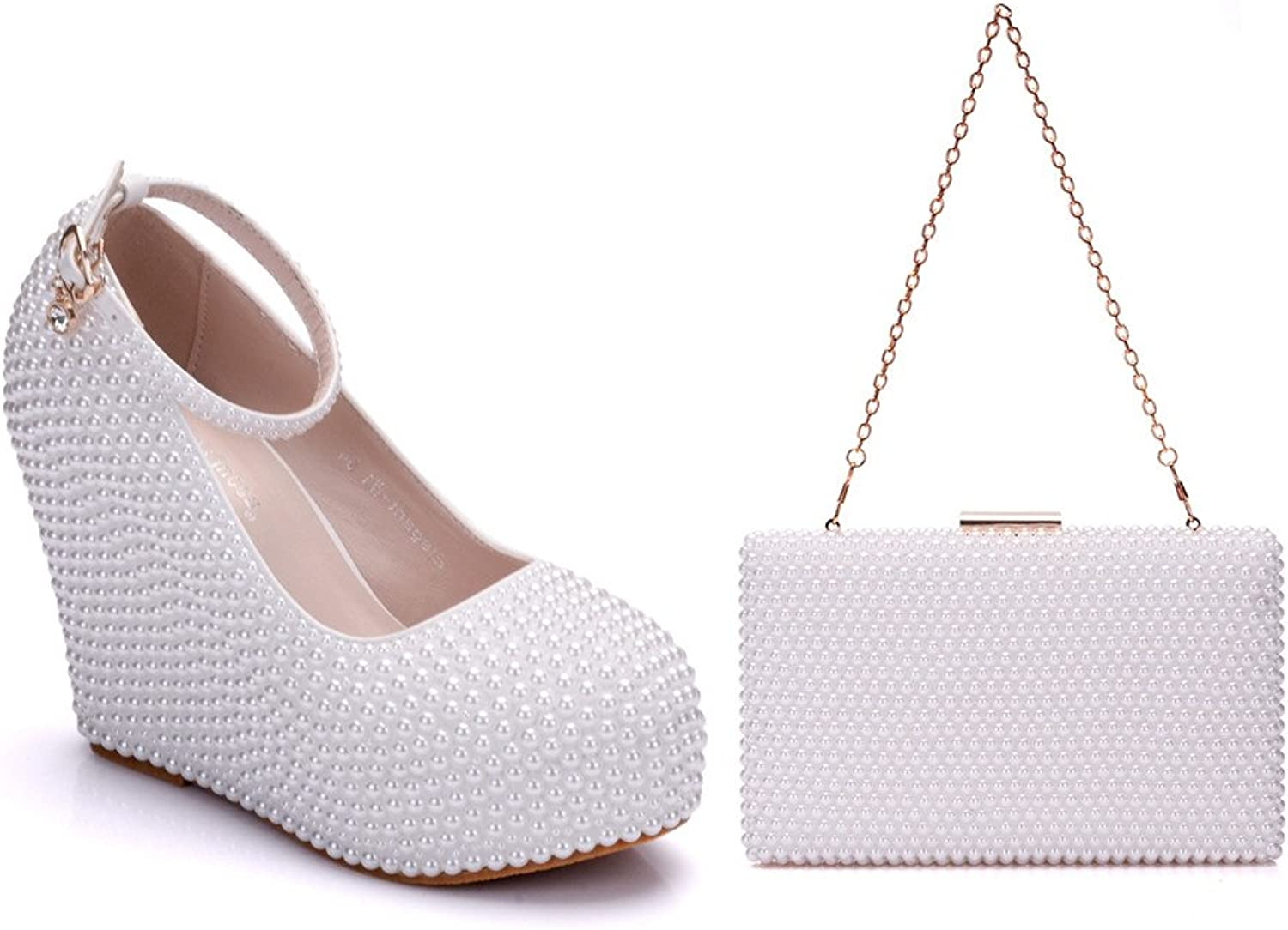 KaDanTing Full Imitation Pearls Decoration Women's Wedges shoes and Handbag Sets