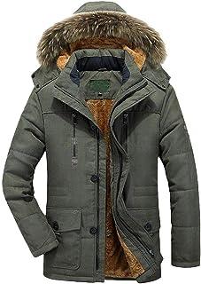Jimmackey Giubbotto Parka Uomo Invernale Giacca Cappotto con Cappuccio Invernali Fodera Giacca Antivento Caldo