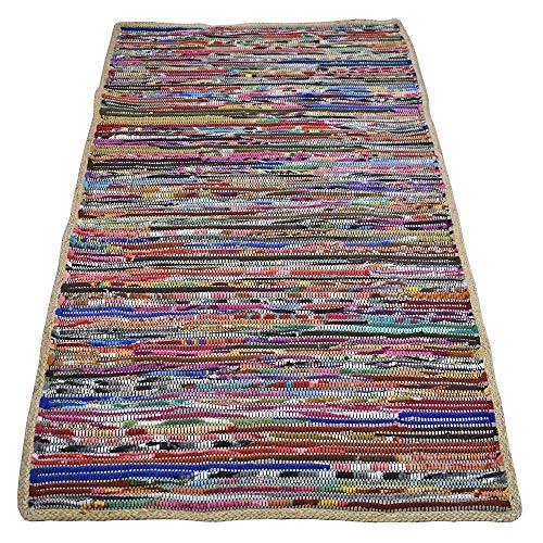 Casa Furnishings Chindi Dhurrie Teppiche und Läufer, aus recyceltem Fleece, natürlicher Jute-Bordüre, Multi, 120 x 180 cm