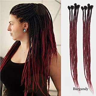 Dsoar 24inch Ombre Dreadlocks Extensions for Women/Men 10 Strands Synthetic Dreads Handmade Crochet Braiding Hair Jamaica Reggae Locs(Ombre Black and Burgundy)