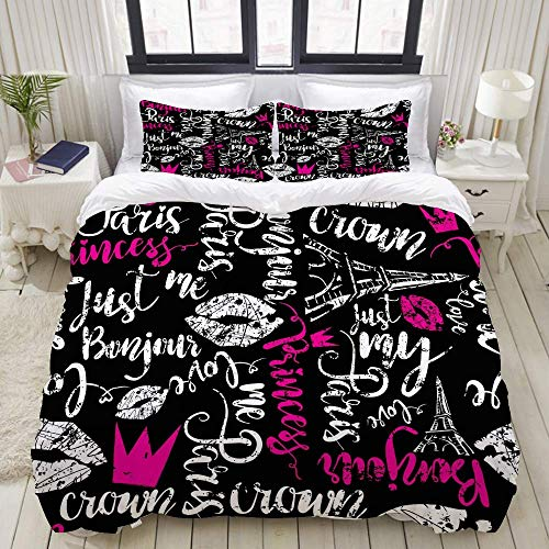 Duvet Cover Set, Abstract Pattern Calligraphic Words Bonjour Princess, Colorful Decorative 3 Piece Bedding Set with 2 Pillow Shams
