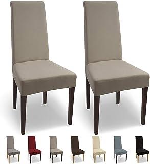 comprar comparacion SCHEFFLER-Home Natalie 2 Fundas de sillas, Estirable Cubiertas, Algodón extraíble Funda con Banda elástica, Beige