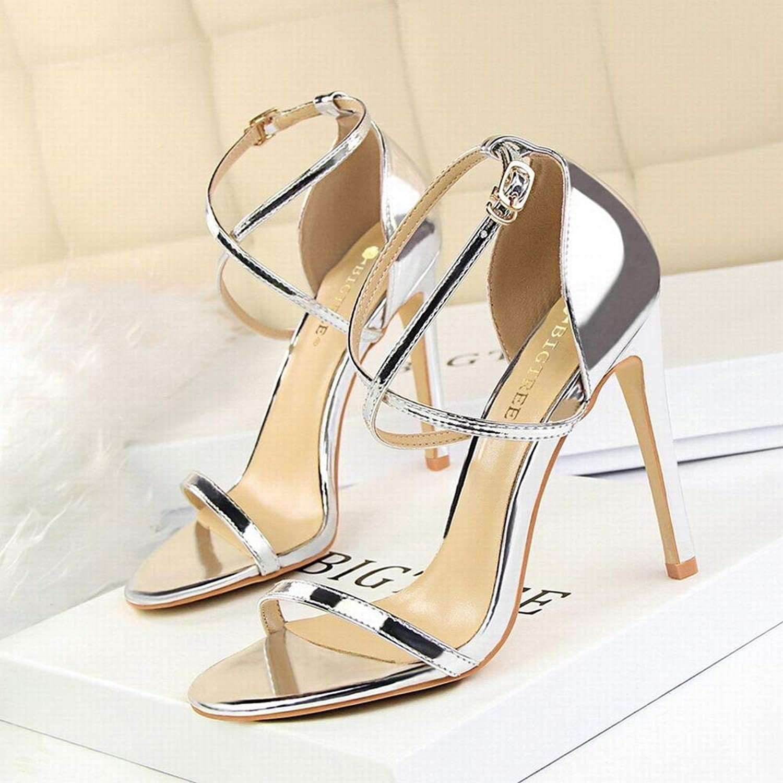 Kirabon Ladies mode Sexig Slim sommar hög klack Stiletto Super hög klack Openwork Cross Strap Sandals (Färg  silver, Storlek  39)