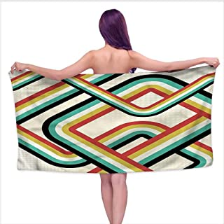 Hariiuet Bath Towels Prime Trippy,Artistic Subway Lines,W20 xL39 for Kids Mickey Mouse