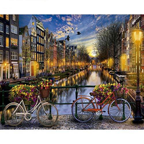 QAZEDC Frameless DIY schilderij volwassenen Liefde In Amsterdam Landschap DIY Digitale Schilderen Door Getallen Moderne Muur Kunst Canvas Schilderij Cadeau voor kinderen Home Decor 50x40cm / 20X16inch