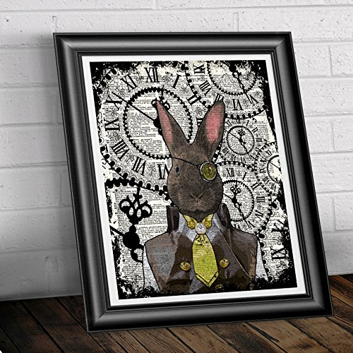 Rabbit art print, Poster Print on Antique Dictionary book page, wall decor, Home decor, unique gift, Steampunk Wall hangings steampunk buy now online