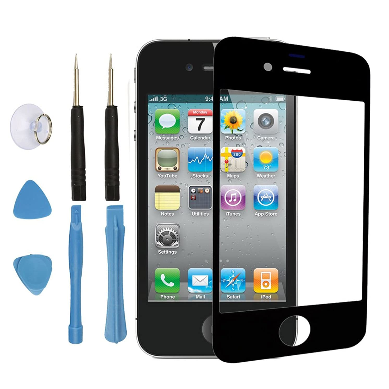 LCD Front Screen Outer Glass Lens Replacement Part for Iphone 4 4g Black + Tools