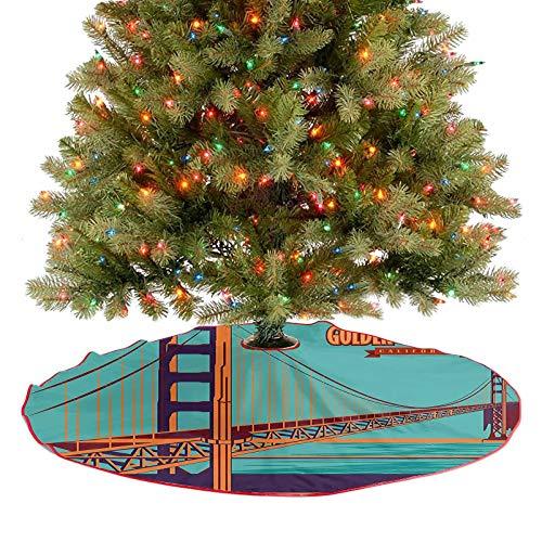 Moderna falda de árbol del puente Golden Gate en California, Estados Unidos, famoso punto de interés retro, turquesa rojo, adornos para decoración de fiesta de Navidad, 92 cm