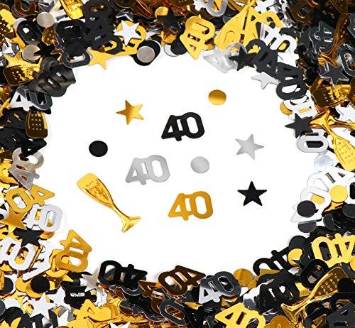 40. Geburtstag Jubiläum Konfetti Gold Silber Schwarz Sterne Punkte Weinglas Tisch Deko für Hochzeit Feier Jubiläum Deko über 500 Stück