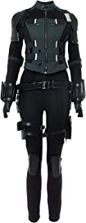Womens Black Agent Soldier Costume Halloween Widow Cosplay Deluxe Outfits
