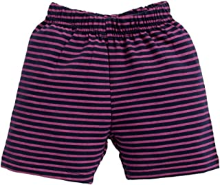 Hopscotch Boys and Girls Cotton Stripes Printed Short in Navy Colour