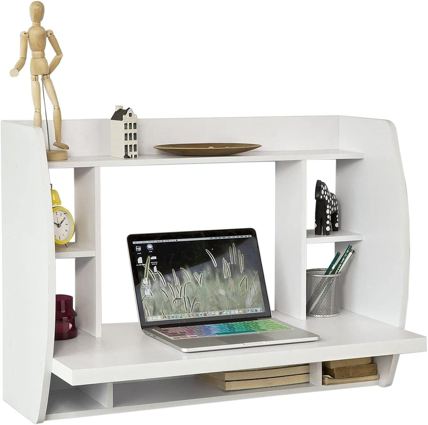 LVLONG Wall OFFicial Mounted Desk With Home Tabl Computer Shelves Storage Baltimore Mall