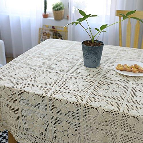Zller2587 Manteles, Tela Hueca Tejida De Algodón, Manteles De Crochet Hechos A Mano Nostálgicos Retro, Decoración del Hogar 100 * 140 Beige