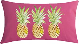 NIDITW Enjoy Summer Time Tropical Fruit Yellow Watercolor Pineapple Hot Pink Lumbar Cotton Linen Throw pillow case Cushion Cover Sofa home decorative Rectangular 12x20 inches