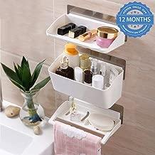 HOKIPO Self-Adhesive 3 Tier Bathroom Organizer with Towel Rail (White)
