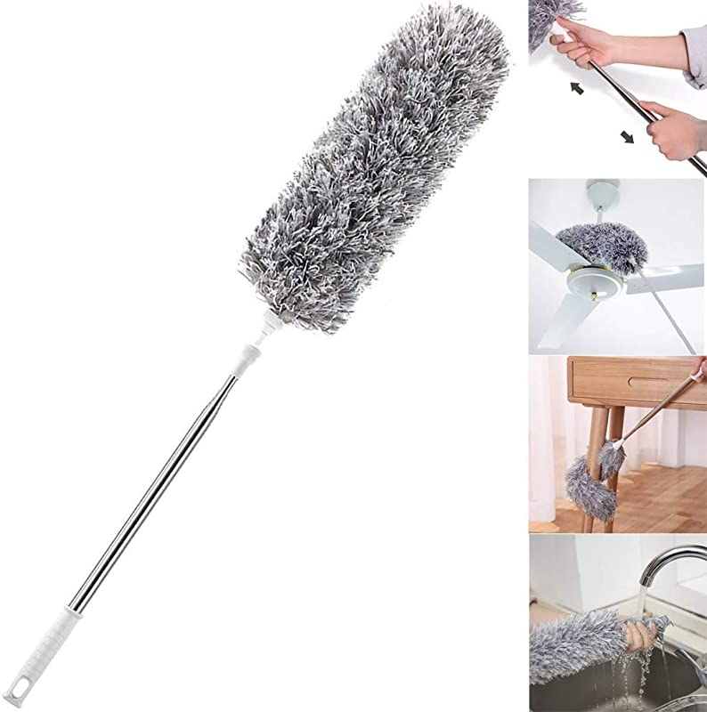 Improved Extra Long Microfiber Duster With Extension Pole 30 To 100 Inches Scratch Resistant Cover Bendable Washable Lint Free Feather Dusters For Cleaning Roof Ceiling Fan Blinds Cobwebs