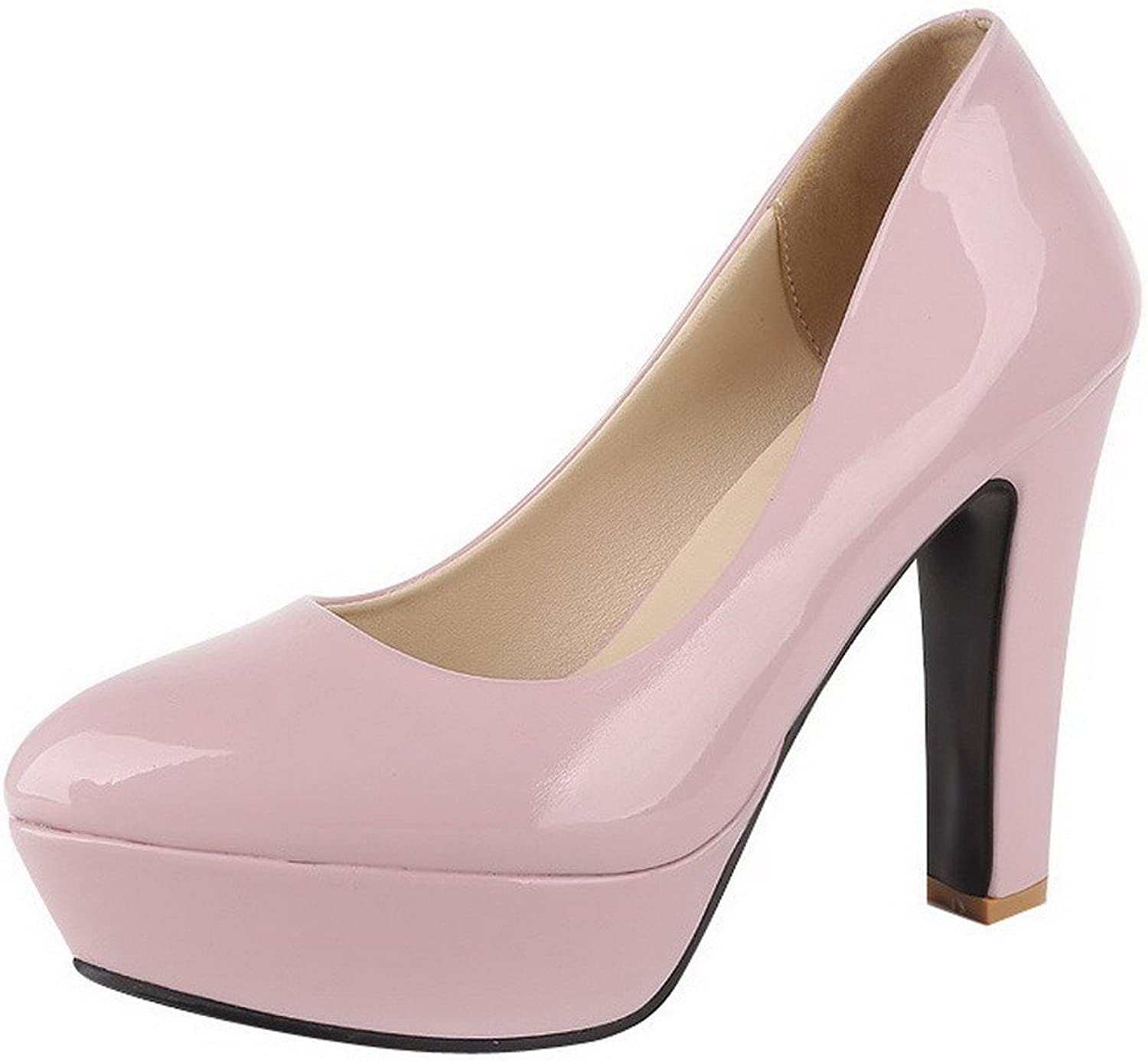 AllhqFashion Women's Patent Leather Round Closed Toe High-Heels Pull-on Solid Pumps-shoes