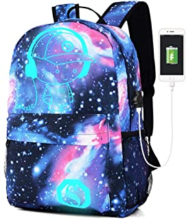 Lmeison Galaxy Daypack, Anime Backpack Cartoon Luminous Bookbag with USB Charging Port and Lock &Pencil Case, Unisex Fashion Shoulder Rucksack Laptop Travel Bag, Best Christmas Birthday Gift