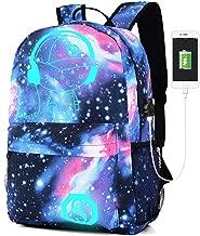Lmeison Galaxy Daypack, Anime Backpack Cartoon Luminous Bookbag with USB Charging Port and Lock &Pencil Case, Unisex Fashion Shoulder Rucksack Laptop Travel Bag
