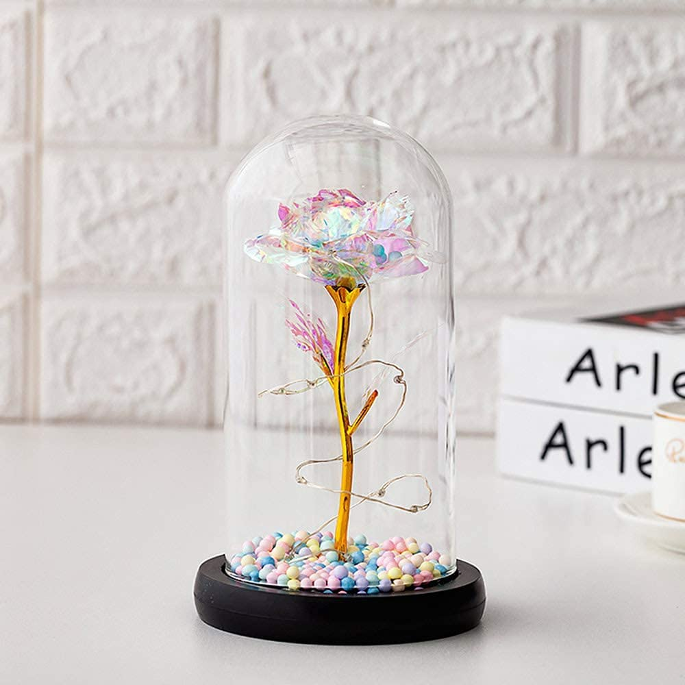 TTAototech Colorful Rose Flower Gift LED with Dome Glass in In stock Ultra-Cheap Deals