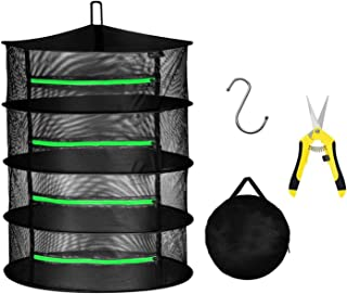iPower 2ft 4-Layer Hanging Herb Mesh Rack Foldable Drying Net with Zippers, Free Storage Bag and Hook Included, 6.5 Inch Y...