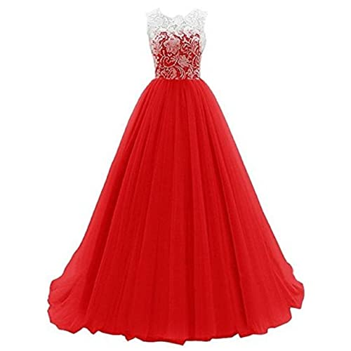 Kids Big Girls Bridesmaid Tulle Lace Dress Elegant A Line Communion Ball Gown Dance Pageant Birthday Party Prom Evening Wedding Dress Sleeveless Floor Length 5-16 Years