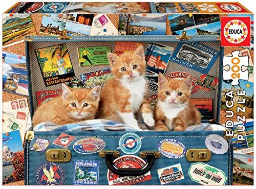 Educa 200 piezas, puzzle infantil Gatitos Viajeros, color va