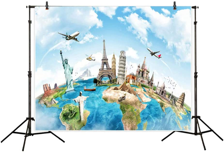 Photophone Real Backdrop Travel World of Map Architecture Famous Photophone Backdrop Wallpaper Photo Booth Prop D/écor Celebration Props Portable Trade Show Background for Event Business Party