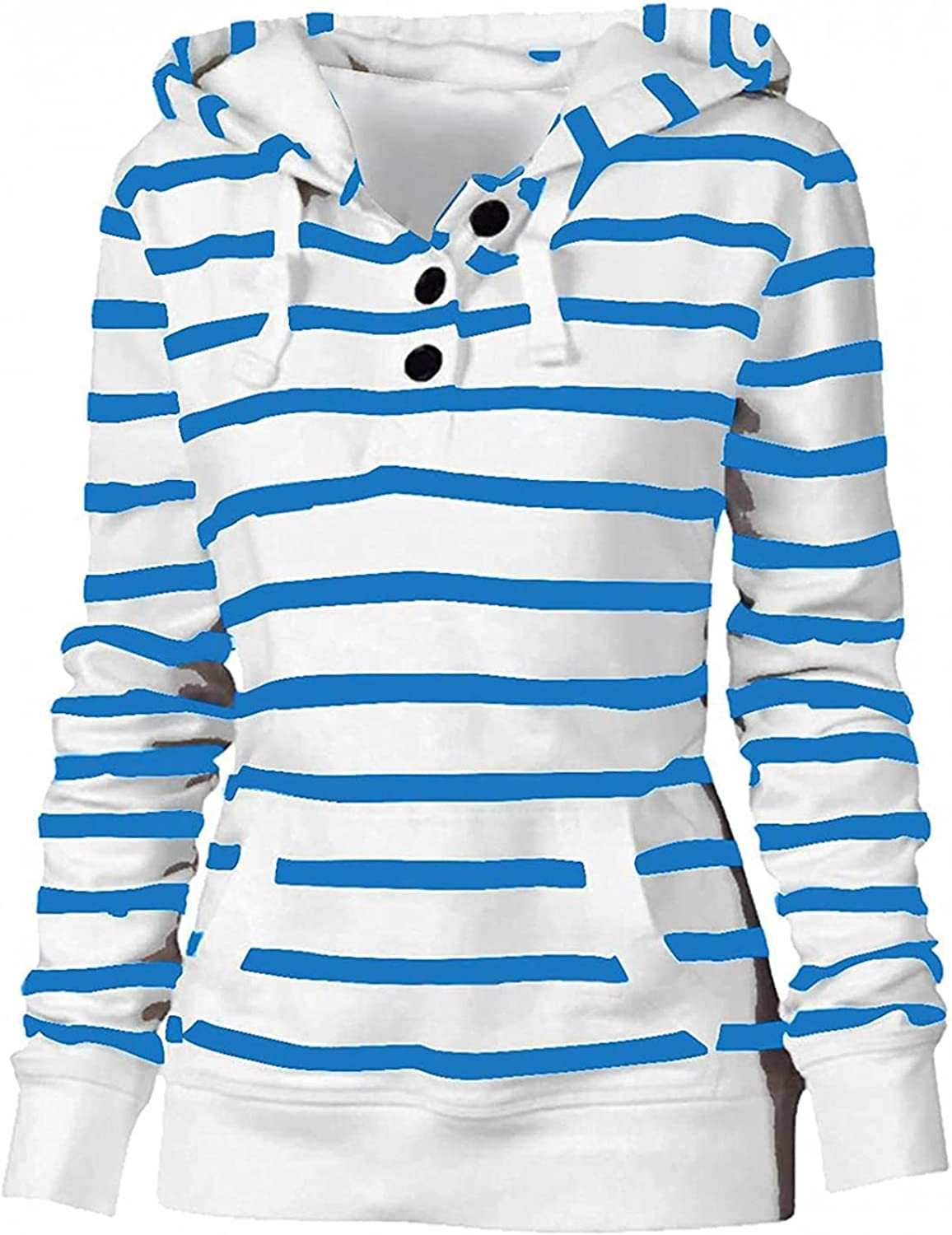 TOWMUS Striped Buttons Hoodies Discount New color is also underway Women for Lightweight Comfortable