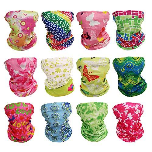GUIFIER 12 Stück Nahtlose Stirnband Kopfbedeckung Bandana Maske,Multifunktionstuch Gesichtsmaske,Magischer Schal Schweißband Halstuch Kopftuch Sport für Motorrad Fahrrad Ski Paintball Gamer