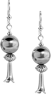 American West Sterling Silver Multi-Bead Dangle Earrings with Squash Blossom Drop - Choice of Gemstones