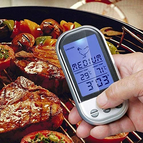 DJG Digital Wireless Backofenthermometer, Nahrungsmittelprüfspitze Küche Thermometer Kochwerkzeug mit Timer Alarm für Barbecue Türkei Fume Thermometer