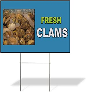 Plastic Weatherproof Yard Sign Fresh Clams Blue White Yellow Clams Seafood White Fresh Clams for Sale Sign Multiple Quantities Available 18inx12in One Side Print One Sign