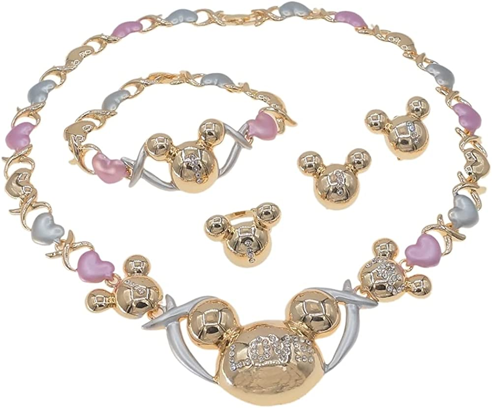 Women's Hugs & Kisses XOXO Real Gold Plated Layered 4 Pieces Necklace Set Includes a Necklace Bracelet Ring Earrings #119