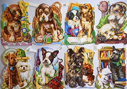 Hund Ball Hunde EF 7121 Glanzbilder Oblate Posiebilder Scrapbook Deko GWI 501