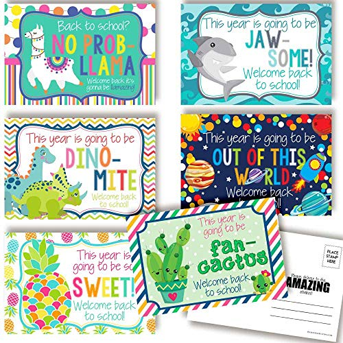Fun & Bright Welcome Back To School Blank Postcards For Teachers To Send To Students, 4'x6' Fill In Notecards (6 different designs) by AmandaCreation (30)
