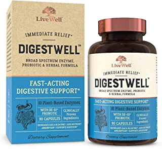 DigestWell Immediate Relief - Fast-Acting Digestive Support | Broad Spectrum Enzyme, Probiotic & Herbal Formula - Decreases Gas & Bloating - 90 Capsules